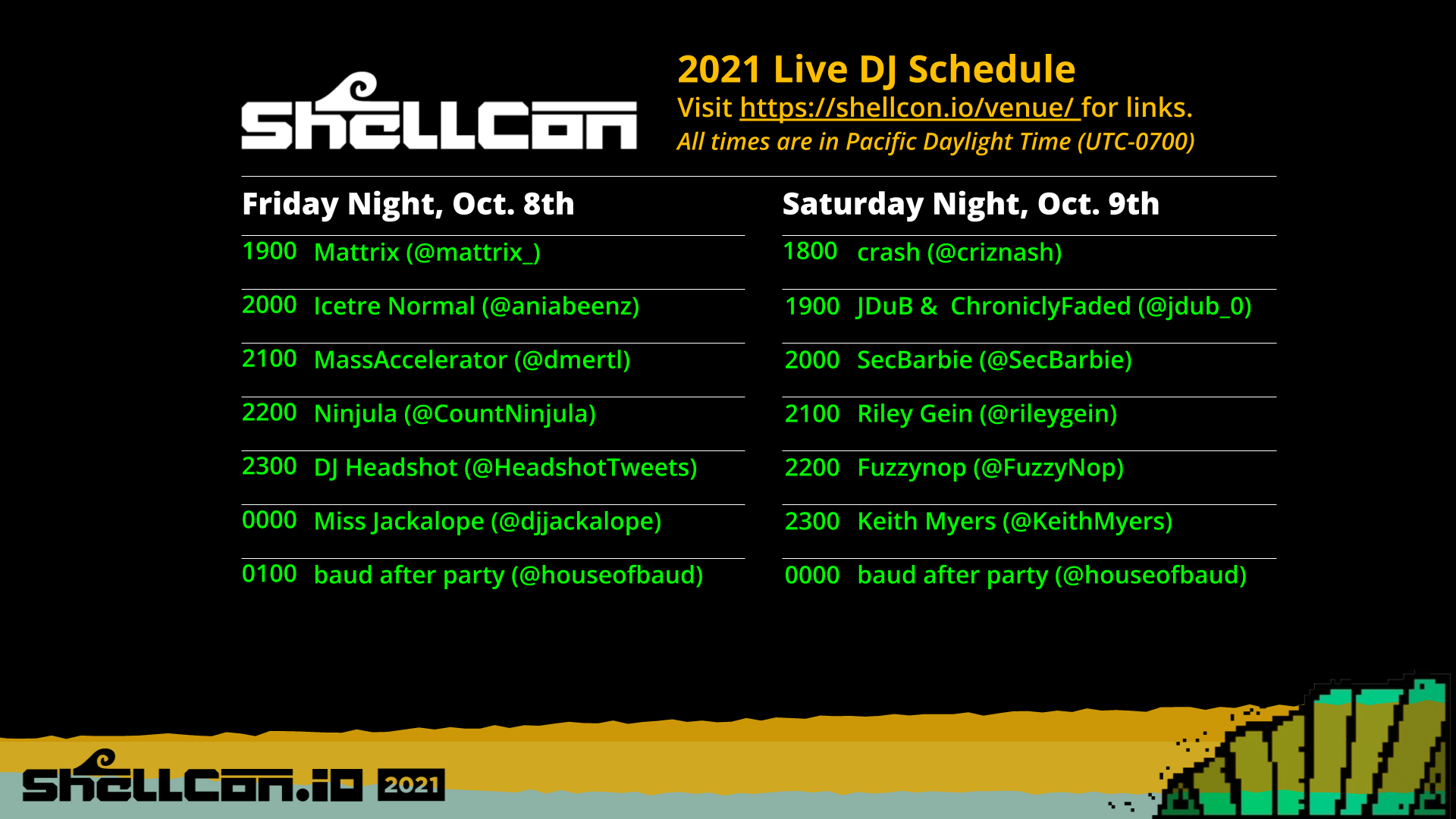 Schedule of DJs